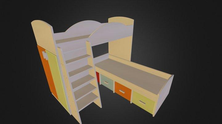 מיטת קומותיים דגם 256 A דוגמא3 ארבע מגירות אחסנה 3D Model