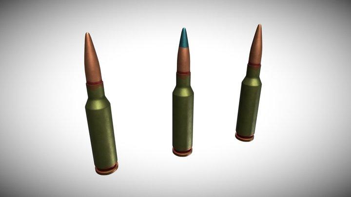 Bullet Set 5.45 x 39 3D Model