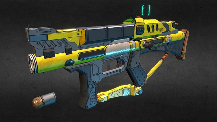 Borderlands Style Grenade Launcher 3D Model