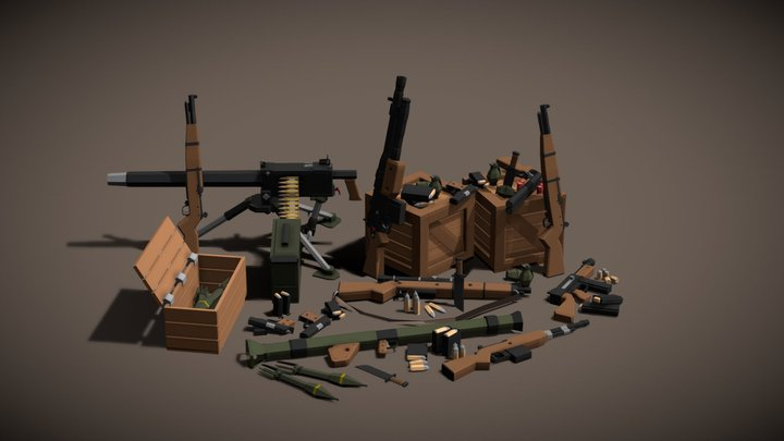 WW2 Weapons Pack 3D Model