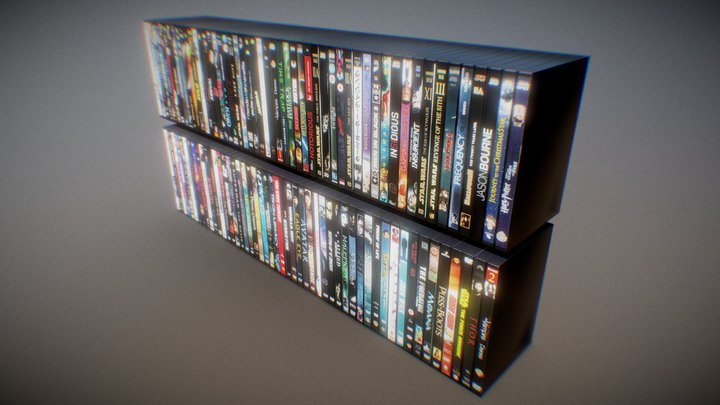 DVD STACKS (LOW POLY) (Free Download) 3D Model