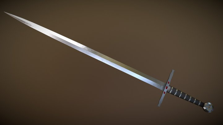 Longsword with small jewels 3D Model