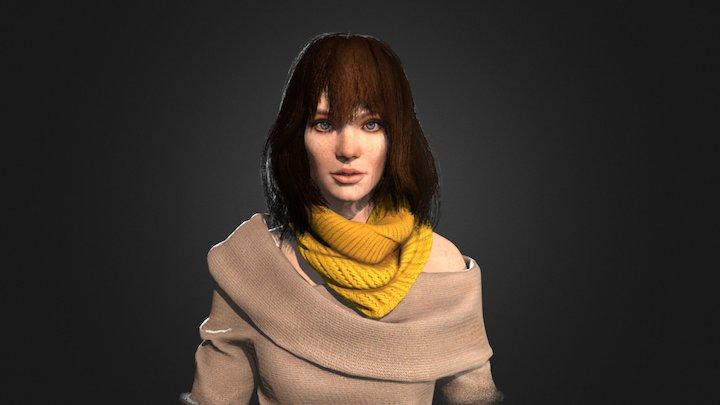 Girl (hair cards study) 3D Model