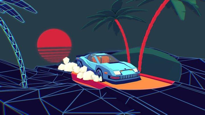 Retrowave LowPoly Car (Remake) 3D Model