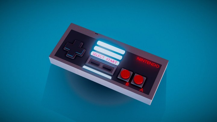 Neon NES Controller 3D Model