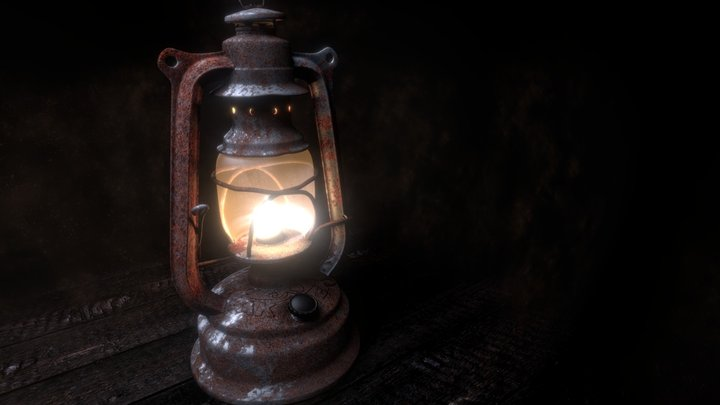 Old petrol lamp (HD Tex) 3D Model