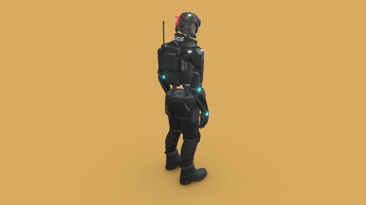 Police Bot 3D Model
