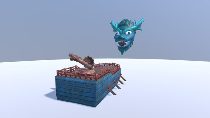DragonHead and Boat 3D Model