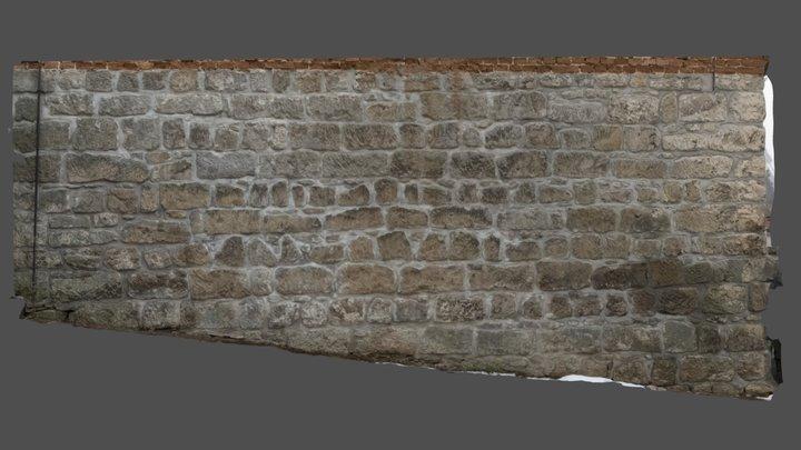 Sandstone Block Wall 3D Model