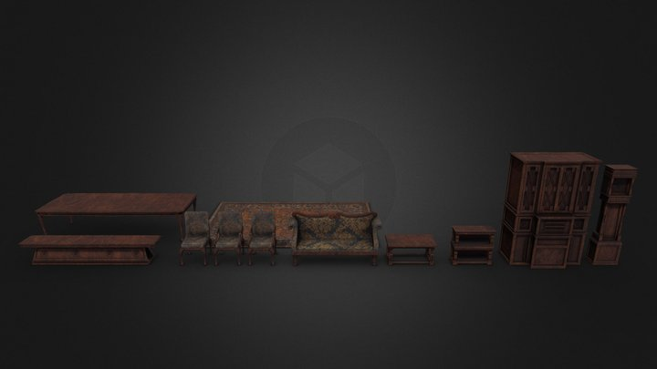 Living and Dining Room - Prop Set 3D Model