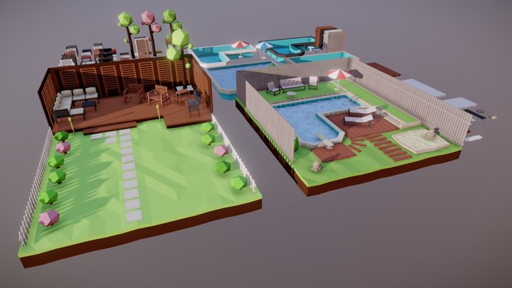 Low Poly Backyards Pack 3D Model