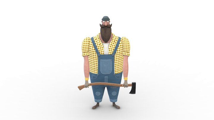 Woodman with an ax 3D Model
