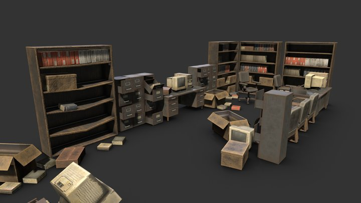 Ruined Office Furniture 3D Model