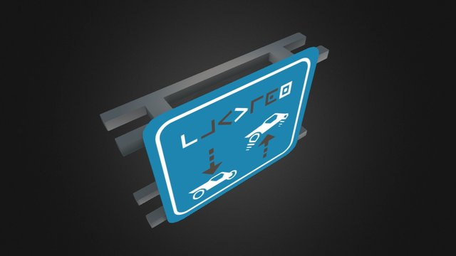 Low Poly Sci-Fi Highway Sign 3D Model