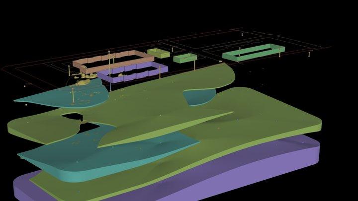 toyosu_geology & benzene plume model 3D Model
