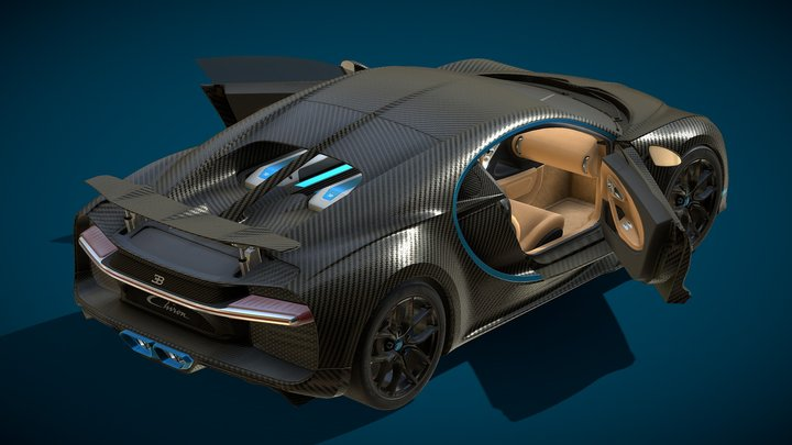 Bugatti Chiron Carbon Fiber Version 3D Model