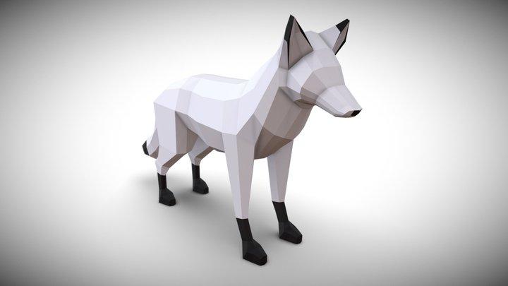 Low Poly Snow Fox 3D Model