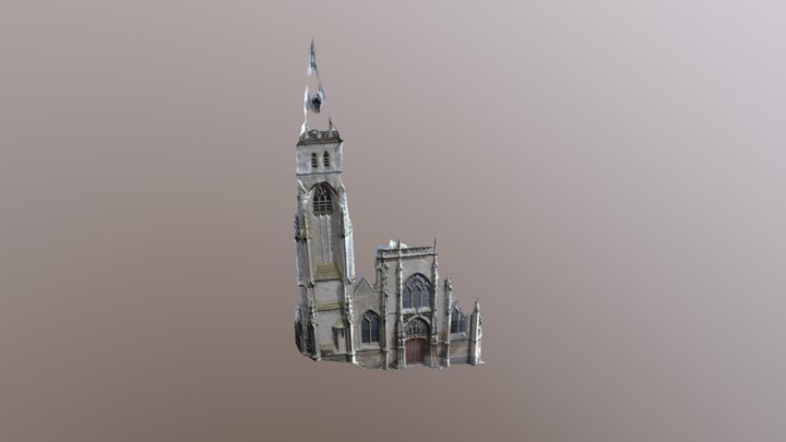 Façade occidentale de l'Eglise St Germain-Amiens 3D Model