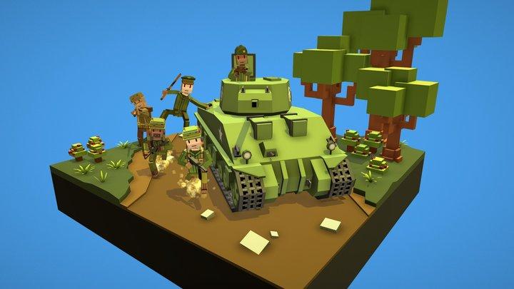 World War 2 cartoon diorama 3D Model