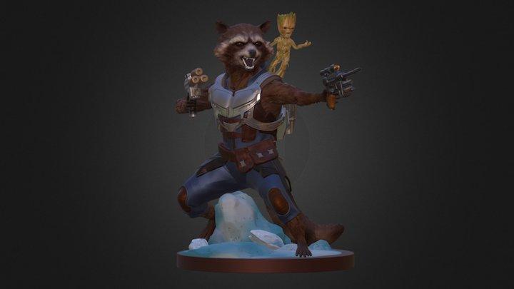 Rocket Raccoon & Groot statue 3D Model