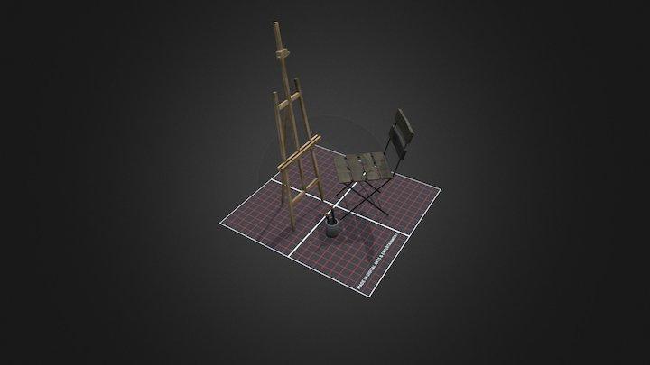 Easel Prop CityScene 3D Model
