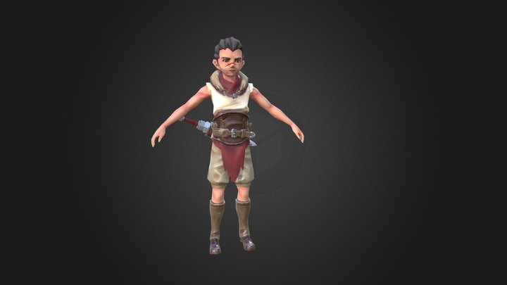 Low polygon man character 3D Model