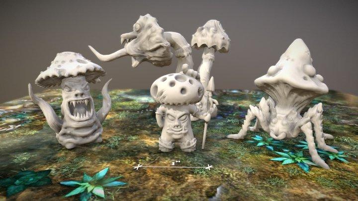 Killer Mushrooms - 3D preview 3D Model