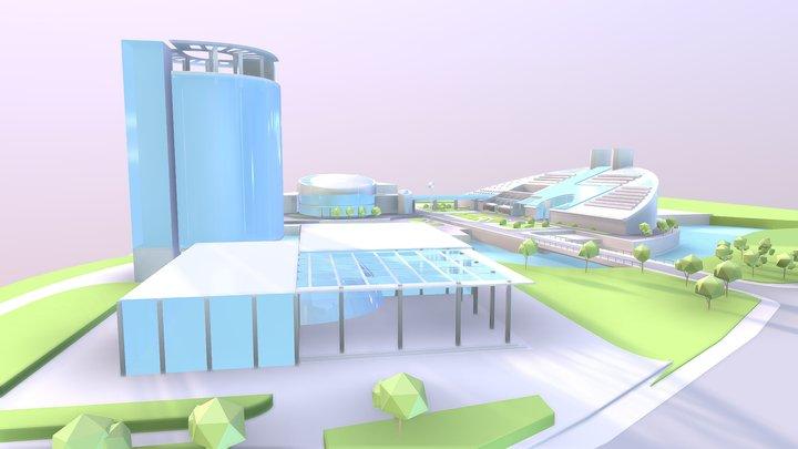 [Lowpoly]Zijin Campus, Zhejiang University 3D Model