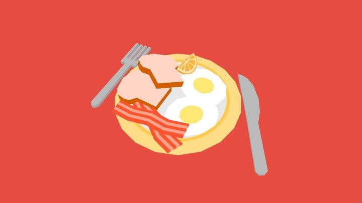 Eggs, Bacon & Toast Breakfast 3D Model