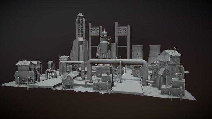 concept level, Futurama style, dirty plant 3D Model