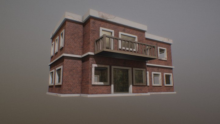 Textured Building with Interior 3D Model