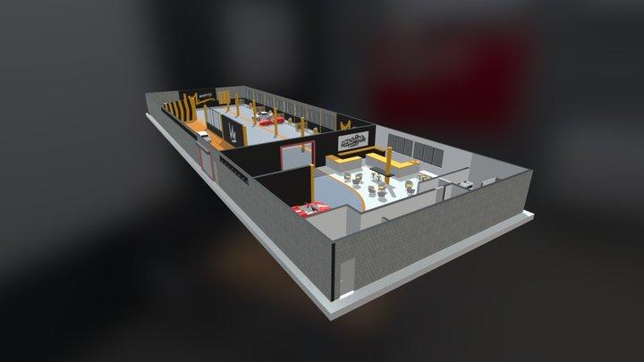 Flowcrete flooring at Machine Washworx & Cafe 3D Model