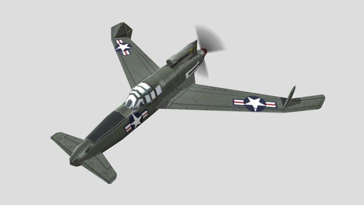 Curtiss XP-55 Ascender Prototype Low Poly Asset 3D Model