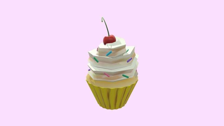 Handpainted Cupcake 3D Model