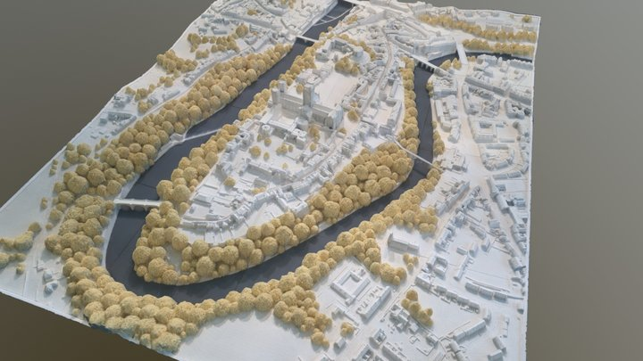 Durham World Heritage Site peninsular, UK 3D Model
