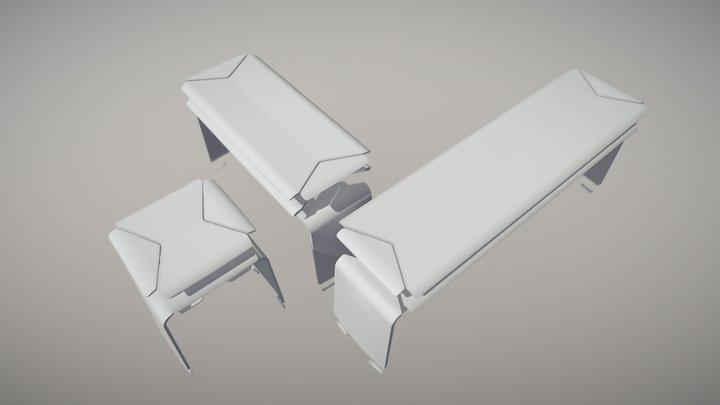 plywood stool bench 3D Model