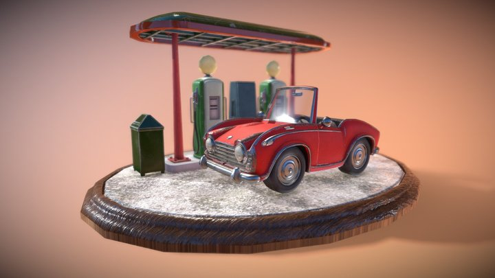 Car_in_Gas_Stop(WIP) 3D Model