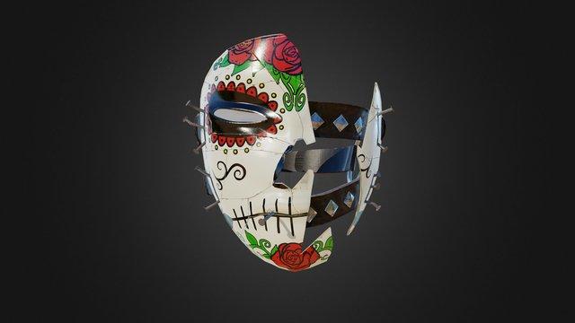 Broken Mask - Red Sugar Skull Theme 3D Model