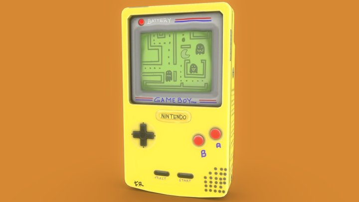 Challenge Gameboy Pacman Painting 3D Model