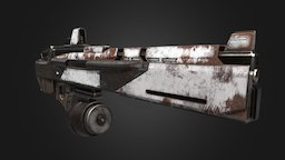 Apocalyptic Gun PBR Low Poly Baked 4K Textures 3D Model