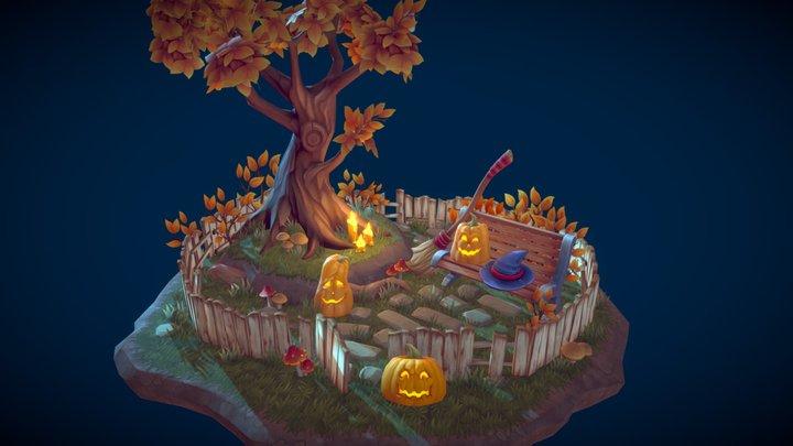 Lowpoly Halloween Decor 3D Model