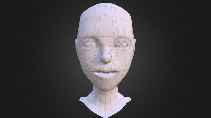 Female Head Mesh 3D Model