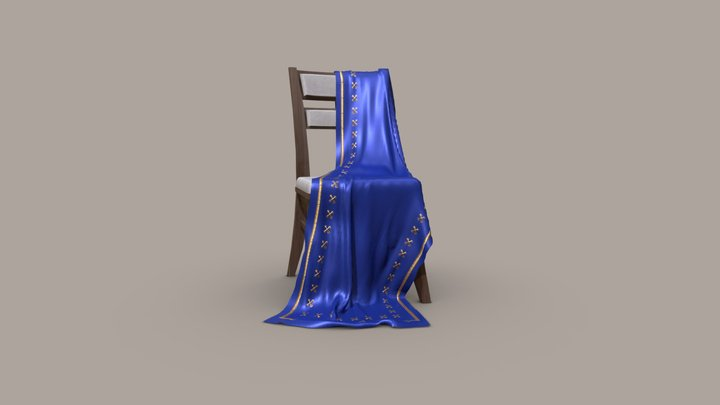 Chair with cloth 3D Model