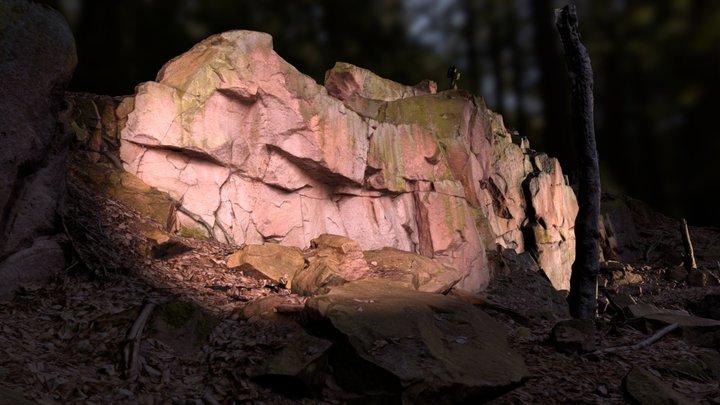 Rorphyr rock face Rochlitzer Berg (free) 3D Model