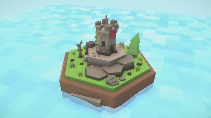 High defensive tower tile 3D Model