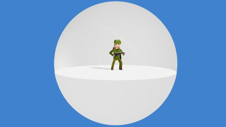 Blocky Characters Animated 3D Model