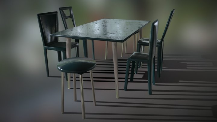 Low poly outdoor table, patio chairs & stool (1) 3D Model