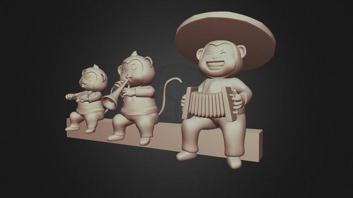 Monkey Play Music 3D Model