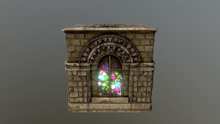 Stone arch building facade 3D Model
