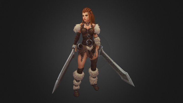 barbarian girl 3D Model